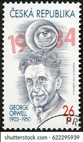PRAGUE, CZECH REPUBLIC - APRIL 03, 2013: A stamp printed in Czech Republic shows Eric Arthur Blair George Orwell (1903-1950)