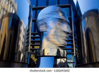 Prague, Czech Republic – April 06, 2018. The sculpture by the Czech artist David Cerny represents the head of Franz Kafka. It is 11 meters high and consists of 42 rotating metal plates.