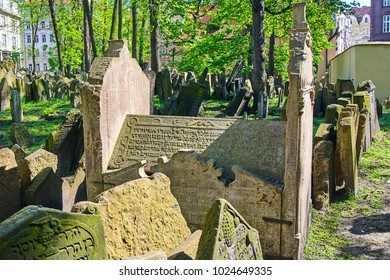PRAGUE, CZECH REPUBLIC - APRIL 09, 2009: Grave of Mordechai Meisel in Prague (1601).Tombstones on Old Jewish Cemetery in the Jewish Quarter in Prague.There are about 12000 tombstones presently visible