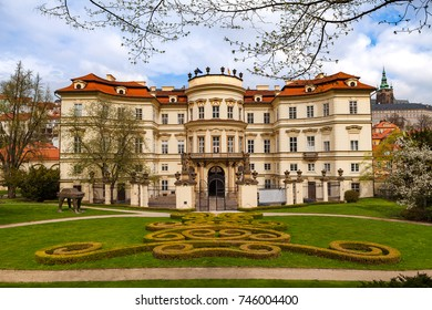 PRAGUE, CZECH REPUBLIC - APRIL 09, 2017: Lobkowicz Palace and backyard with beautiful gardening. Also German embassy.