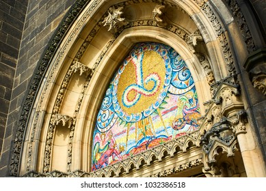 Prague, Czech Republic - April 11, 2011: Decorated entrance of St. Peter and Paul church in Vysehrad, historic fort located in the city of Prague, Czech Republic