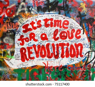 PRAGUE, CZECH REPUBLIC - APRIL 12:The Lennon Wall since the 1980s filled with John Lennon-inspired graffiti and pieces of lyrics from Beatles songs on Apr 12, 2011 in Prague, Czech Republic