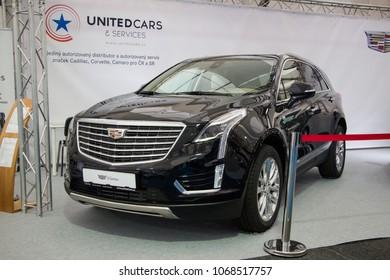 Prague, Czech Republic - April 13th 2018: Black Cadillac XT5 Crossover at Autoshow Praha 2018.
