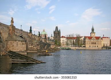 PRAGUE, CZECH REPUBLIC - APRIL 18, 2010: View of the Charles Bridge in Prague, Czech Republic