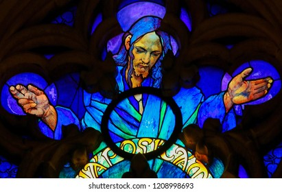 Prague, Czech Republic - April 2, 2016: Stained Glass in St. Vitus Cathedral, Prague, depicting Jesus Christ