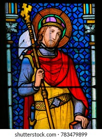 PRAGUE, CZECH REPUBLIC - APRIL 2, 2016: Stained Glass window in St. Vitus Cathedral, Prague, depicting Wenceslaus I or Vaclav the Good, Duke of Bohemia