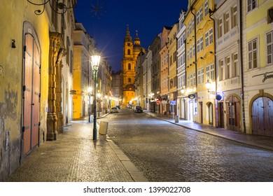 Prague, Czech Republic - April 20, 2019: Architecture of the old town in Prague at night, Czech Republic