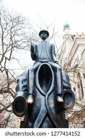 PRAGUE, CZECH REPUBLIC - APRIL, 2018: The Statue of Franz Kafka an sculpture by artist Jaroslav Róna