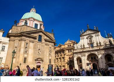 PRAGUE, CZECH REPUBLIC - APRIL, 2018: St. Francis Of Assisi and  St. Salvator churches at Prague old town