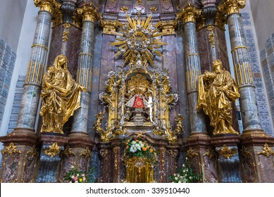 Prague, Czech Republic, April 21, 2015: Prazske jezulatko (Prague s infant Jesus) statue situated inside of the Carmelite Church of Our Lady Victorious in Prague