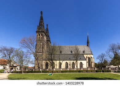 PRAGUE, CZECH REPUBLIC - APRIL 25: Basilica of Saint Peter and Paul at Vysehrad, Prague, Czech republic. Tourists.