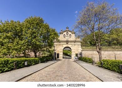 PRAGUE, CZECH REPUBLIC - APRIL 25: Main gate to the vysehrad castle complex in prague. Tourists.