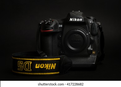 PRAGUE, CZECH REPUBLIC - APRIL 25, 2016: New professional top model camera, the DSLR Nikon D5, in studio with the dark background