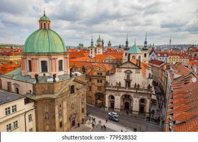 PRAGUE, CZECH REPUBLIC - APRIL 25, 2017: Panoramic view of old city with The Church of St. Francis, Klementinum