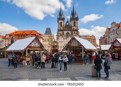 PRAGUE, CZECH REPUBLIC - APRIL 26, 2017: Easter holiday with happy tourists and locals on old town square