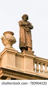 Prague, Czech Republic - April 3, 2016: Statue of the famous classical composer Ludwig von Beethoven on the Rudolfinum, a concert hall in Prague, Czech Republic.