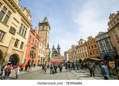 Prague, Czech Republic - April 3, 2016: Old Town Square or Staromak with the Church of Our Lady Before Tyn and the Old Town Hall in Prague, Czech Republic