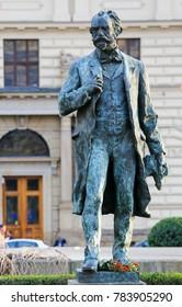 Prague, Czech Republic - April 3, 2016: Statue of the famous Czech composer Antonin Dvorak at the Rudolfinum, the main concert hall of Prague, Czech Republic.