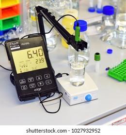 PRAGUE, CZECH REPUBLIC - April 30, 2017: Measuring pH in laboratory. Potential of hydrogen. Institute of Organic and Biochemistry.