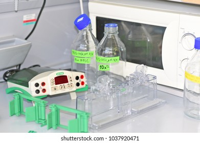 PRAGUE, CZECH REPUBLIC - April 30, 2017: Device for gel-electrophoresis Biochemical laboratory. Table with equipment for gel electrophoresis.Institute of Organic and Biochemistry.
