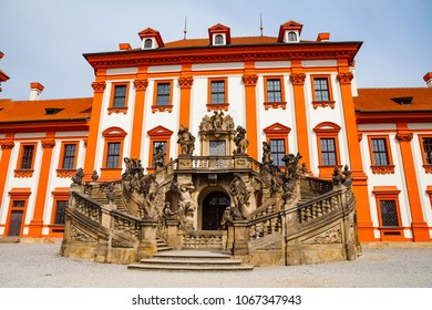 PRAGUE, CZECH REPUBLIC - APRIL, 30, 2017: Details of Troja Palace, hosts the 19th century Czech art collections of the City Gallery.