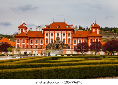 PRAGUE, CZECH REPUBLIC - APRIL, 30, 2017L Early baroque Troja palace and garden