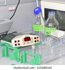 PRAGUE, CZECH REPUBLIC - April 30, 2017: Device for gel-electrophoresis Biochemical laboratory. Table with equipment for gel electrophoresis in the laboratory.Institute of Organic and Biochemistry.