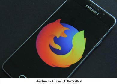 Prague, Czech Republic - April 30 2019: Mozilla Firefox Browser mobile app on the display of Samsung mobile phone