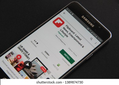 Prague, Czech Republic - April 30 2019: Flipboard: Latest News, Entertainment and Lifestyle mobile app on the display of Samsung mobile phone