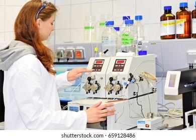 PRAGUE, CZECH REPUBLIC - April 30, 2017 A young researcher conducts research using modular HPLC. Institute of Organic and Biochemistry.