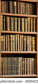 PRAGUE, CZECH REPUBLIC - APRIL 4, 2016: Antique books in the Library of Prague, Czech Republic.