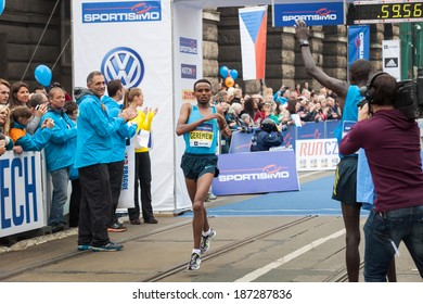 Prague, Czech Republic - April 5, 2014, runner Mosinet Geremewafter finish line on Half Marathon Praha