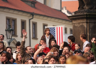 PRAGUE, CZECH REPUBLIC - APRIL 5: Crowds of people wait for Barack Obama speech April 5, 2009 in Prague. Obama delivered his speech about nuclear disarmament in front of more than 20,000 people.