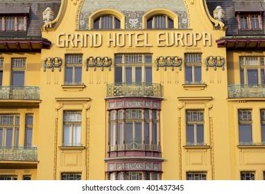 PRAGUE, CZECH REPUBLIC - APRIL 5, 2016: Grand Hotel Evropa located on Wenceslas Square in Prague, Czech Republic.