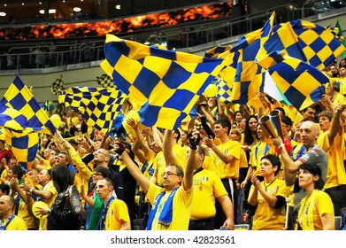 PRAGUE, CZECH REPUBLIC - APRIL 5: Trentino team supporters watch the volleyball game of Final Four CEV Indesit Champions League at O2 Arena on April 5, 2009 in Prague, Czech Republic.