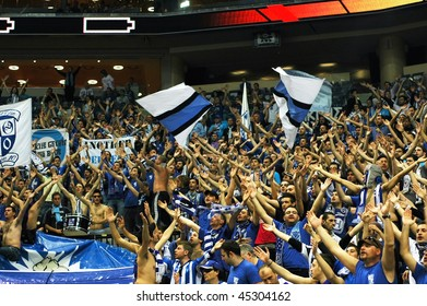 PRAGUE, CZECH REPUBLIC - APRIL 5: Iraklis team supporters watch the volleyball game of Final Four CEV Indesit Champions League at O2 Arena in Prague. April 5, 2009