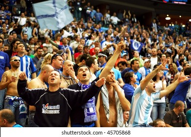 PRAGUE, CZECH REPUBLIC - APRIL 5: Iraklis team supporters watch the volleyball game of Final Four CEV Indesit Champions League at O2 Arena April 5, 2009 in Prague.
