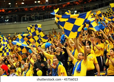 PRAGUE, CZECH REPUBLIC - APRIL 5: Trentino team supporters watch the volleyball game of Final Four CEV Indesit Champions League at O2 Arena in Prague April 5, 2009
