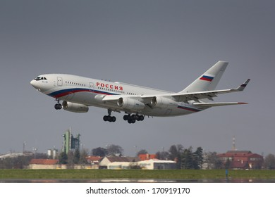 PRAGUE, CZECH REPUBLIC - APRIL 8: GTK Russia Ilyushin IL96-300PU takes off PRG airport on April 8. 2010 in Prague. President Medeved is on board and leaving Prague after sign of agreement 'START'
