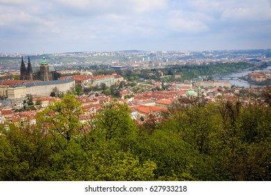 PRAGUE, CZECH REPUBLIC - APRIL 8, 2017: Panoramic view to Prague castle from Petrin Tower