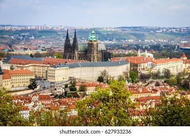 PRAGUE, CZECH REPUBLIC - APRIL 8, 2017: Panoramic view to Prague castle from Petrin Tower
