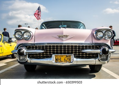 PRAGUE, CZECH REPUBLIC - APRIL 9th 2017: Pink Cadillac parked on a roof of a shopping center as a part of Classic Drive car show on 9th April 2017 in Prague, CZE.