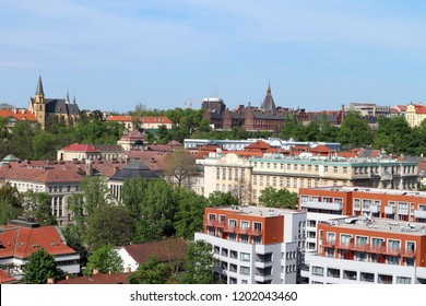 Prague, the Czech republic – Aprile 26, 2018: Prague city roofs buildings from Vysehrad also with famous maternity hospital U Apolinare
