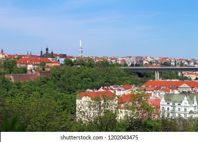 Prague, the Czech republic – Aprile 26, 2018: Roofs of Prague, Zizkov television tower and the Nusle bridge (Nuselsky most)  from Vysehrad