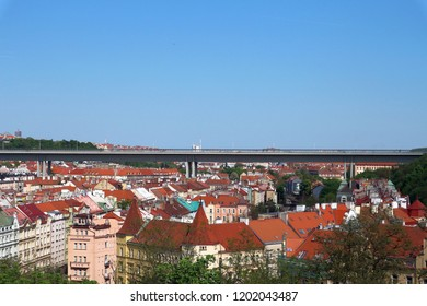 Prague, the Czech republic – Aprile 26, 2018: Roofs of Prague and the Nusle bridge (Nuselsky most)  from Vysehrad