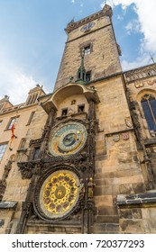 Prague, Czech Republic - Aug 12, 2015: Astronomical clock on the wall of Old Town Hall - Shutterstock ID 720377293