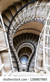 PRAGUE, CZECH REPUBLIC - AUG 5, 2018: Bulb shaped cubism style stairs in the House of the Black Madonna which is a cubist building in the Old Town area of Prague, Czech Republic. Tribute to T.  Edison