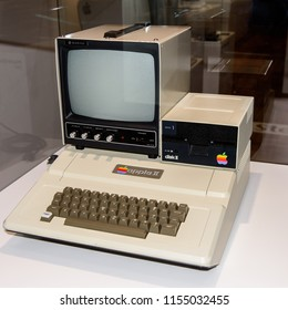 PRAGUE, CZECH REPUBLIC - AUG 6, 2017: Apple 2 II computer, Apple museum in Prague.