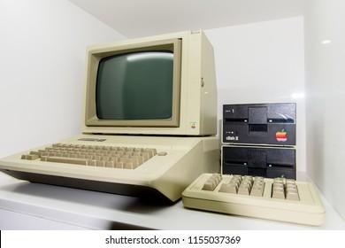 PRAGUE, CZECH REPUBLIC - AUG 6, 2017: Apple IIe (2e) computer, Apple museum in Prague.