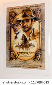 PRAGUE, CZECH REPUBLIC - AUG 6, 2018: Poster of the film Indiana Jones and the last crusade, Grevin wax museum in Prague.